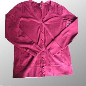 L.L.Bean sz M button cardigan blouse long sleeve